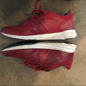 ASICS Onitsuka Tiger Red Leather Shoes, 7